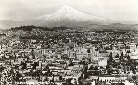 Mt. Hood over Portland, Oregon Stretched Canvas Print