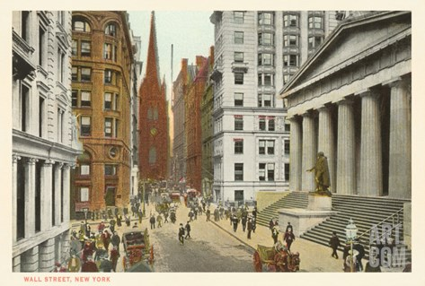 Wall Street, New York City Stretched Canvas Print