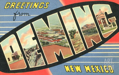 Greetings from Deming, New Mexico Stretched Canvas Print