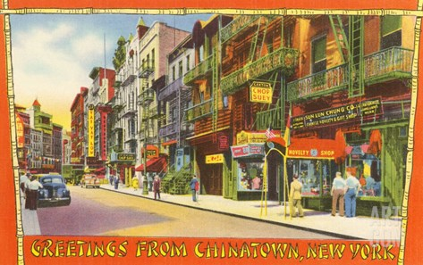 Greetings from Chinatown, New York City Stretched Canvas Print