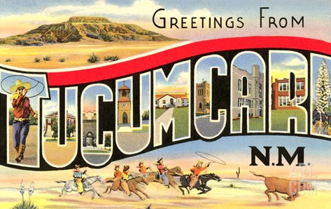 Greetings from Tucumcari, New Mexico Stretched Canvas Print
