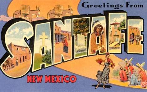 Greetings from Santa Fe, New Mexico Stretched Canvas Print