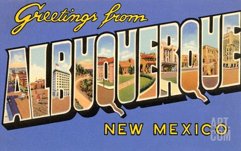 Greetings from Albuquerque, New Mexico Stretched Canvas Print