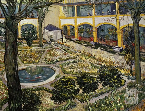 Garden of the Hospital at Arles Stretched Canvas Print