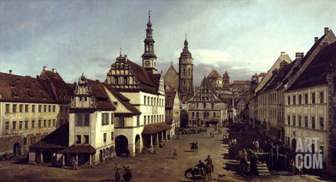 Dresden Market Square Stretched Canvas Print