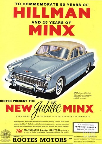 Hillman, Jubilee Edition Hillman Minx Cars, UK, 1950 Stretched Canvas Print