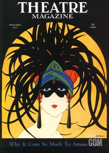 Theatre, Masks Magazine, USA, 1920 Stretched Canvas Print