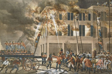The Life of a Fireman, Now Then with a Will - Shake Her Up Boys!, 1854 Stretched Canvas Print
