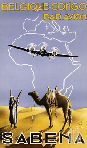 Sabena, Belgique-Congo, c.1930 Stretched Canvas Print
