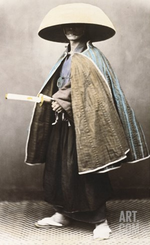 Japanese Samurai in Traditional Costume, 1868 Stretched Canvas Print