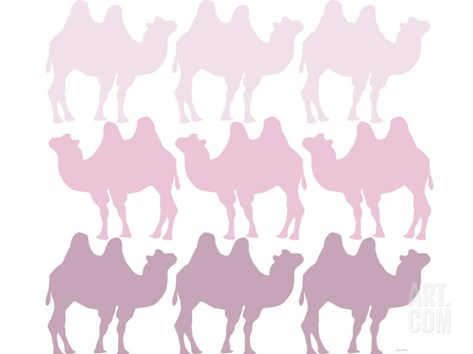 Pink Camel Family Stretched Canvas Print