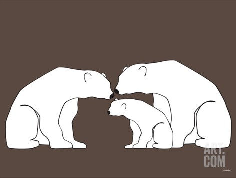 Brown Polar Bears Stretched Canvas Print