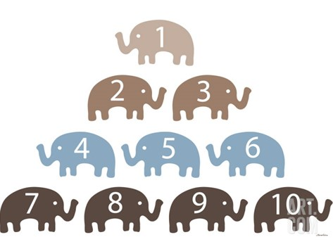 Brown Counting Elephants Stretched Canvas Print