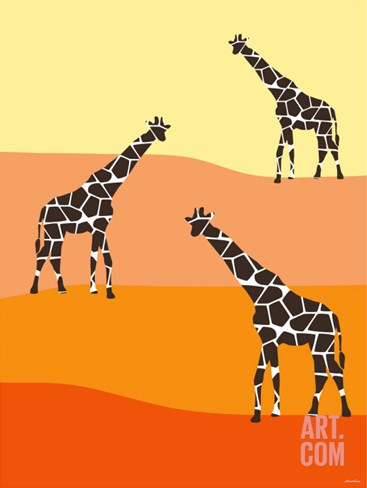 Orange Giraffe Family Stretched Canvas Print