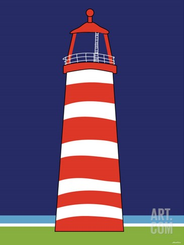Red Lighthouse Stretched Canvas Print