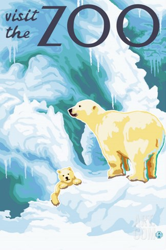 Visit the Zoo, Polar Bear and Cub Stretched Canvas Print