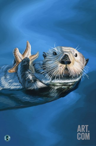 Sea Otter Stretched Canvas Print
