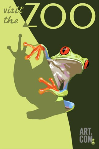 Visit the Zoo, Tree Frog Scene Stretched Canvas Print