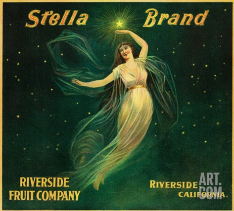Riverside, California, Stella Brand Citrus Label Stretched Canvas Print
