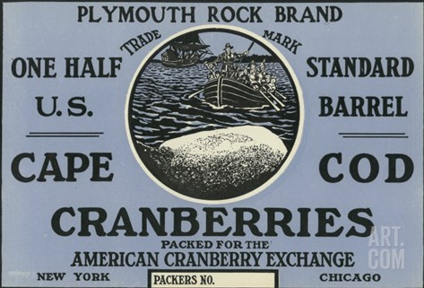 Cape Cod, Massachusetts, Plymouth Rock Brand Cranberry Label Stretched Canvas Print