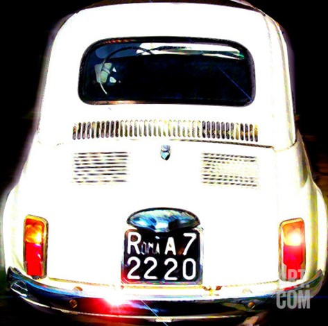 Fiat 500, Rome Stretched Canvas Print