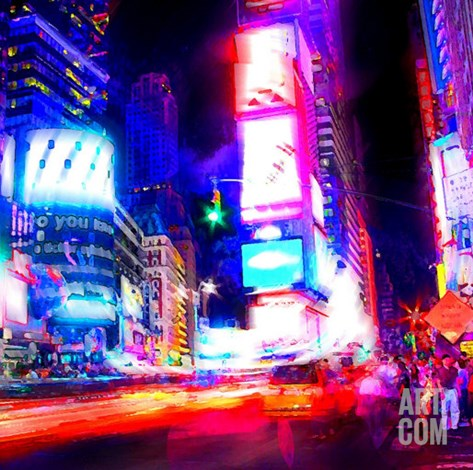 Times Square Night, New York Stretched Canvas Print