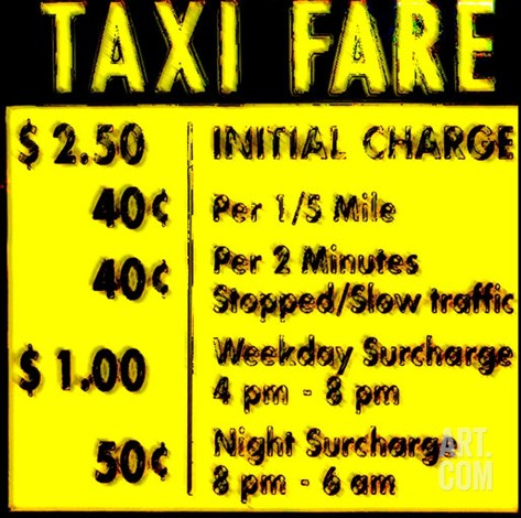 Taxi Fare, New York Stretched Canvas Print