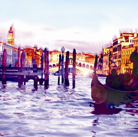 Canal Grande, Venice Stretched Canvas Print