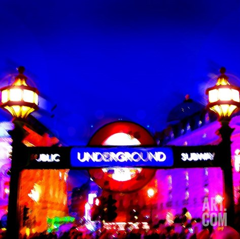 Piccadilly Circus Tube, London Stretched Canvas Print
