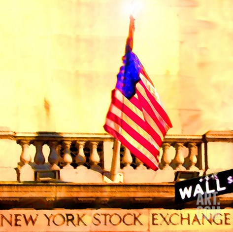 Wall Street, New York Stretched Canvas Print