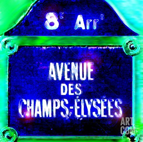 Ave Champs-Elysees Sign, Paris Stretched Canvas Print