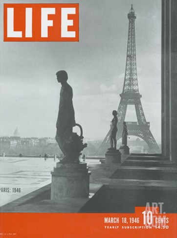 Paris, Statues with Eiffel Tower, March 18, 1946 Stretched Canvas Print