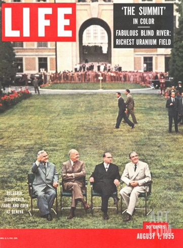 Eisenhower, Bulganin, Faure, and Eden, August 1, 1955 Stretched Canvas Print