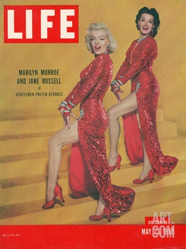 "Actresses Marilyn Monroe and Jane Russell in Scene from ""Gentlemen Prefer Blondes"", May 25, 1953 Stretched Canvas Print"