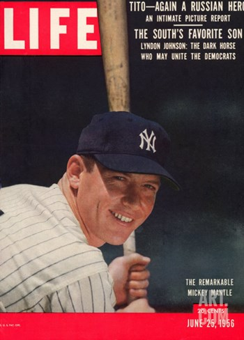NY Yankee Slugger Mickey Mantle, June 25, 1956 Stretched Canvas Print