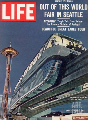 Monorail and Space Needle at World's Fair in Seattle, May 4, 1962 Stretched Canvas Print
