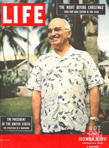 President Harry Truman in Casual Shirt, December 10, 1951 Stretched Canvas Print