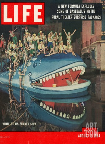 "Actors Riding Giant Whale in Performance of ""The Arabian Nights,"" Marine Theater, August 2, 1964 Stretched Canvas Print"