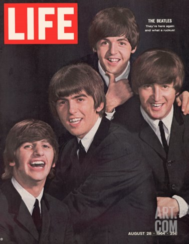 The Beatles, Ringo Starr, George Harrison, Paul Mccartney and John Lennon, August 28, 1964 Stretched Canvas Print