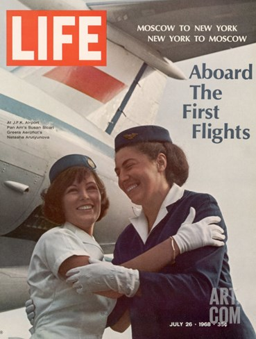 American Pan Am Stewardess Sicari Embracing Russian Aeroflot Stewardess Arutyunova, July 25, 1968 Stretched Canvas Print