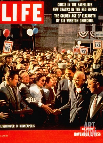 Dwight D. Eisenhower Campaigning in Minneapolis, MN, November 5, 1956 Stretched Canvas Print