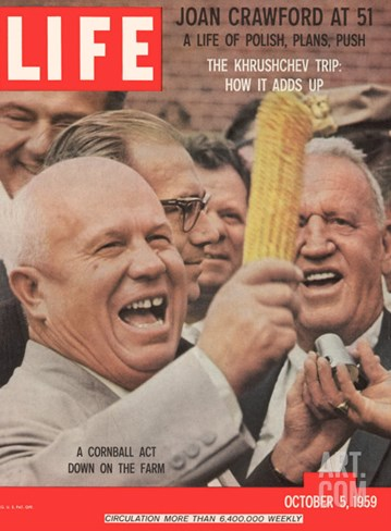 Russian Premier Nikita Khrushchev Holding Up Ear of Corn During Tour of US, October 5, 1959 Stretched Canvas Print