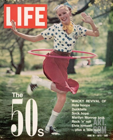 Girl using Hula Hoop, Revival of Fashions and Fads of the 1950's, June 16, 1972 Stretched Canvas Print