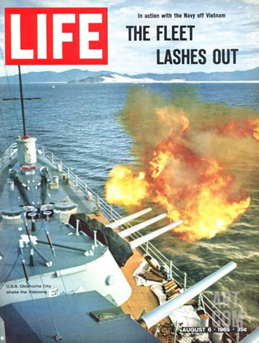 The Fleet Lashes Out, Bill Ray of USS Oklahoma Shelling the Viet Cong Off Vietnam, August 6, 1965 Stretched Canvas Print
