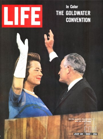Sen. Barry Goldwater and Wife at Republican Convention, July 24, 1964 Stretched Canvas Print