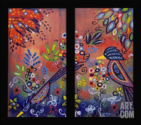An Enchanted Garden Diptych Stretched Canvas Print