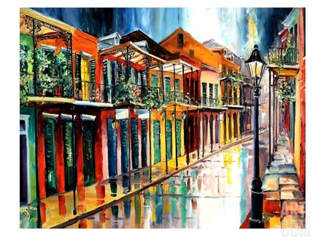 French Quarter Rain Stretched Canvas Print