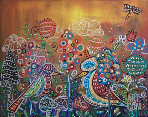 2 Whimsy Birds In Enchanted Garden Stretched Canvas Print