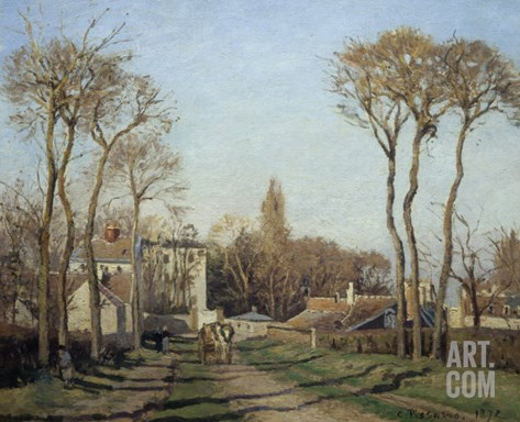 Entering the Voisins Village, 1872 Stretched Canvas Print