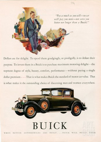 Buick, Magazine Advertisement, USA, 1929 Stretched Canvas Print